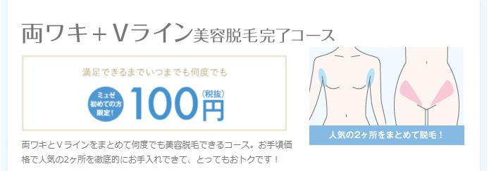 ミュゼ両ワキ+Vライン美容脱毛完了コース100円
